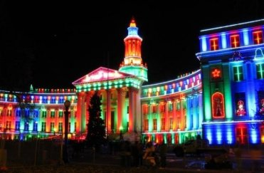 Christmas lights at the Denver City & County building - Cave News