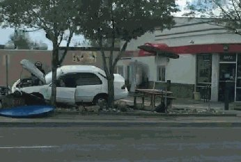 Car crashes into picnic area next to front door of Loveland, CO